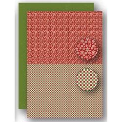 Papír na pozadí A4 - vánoční vločky v červené