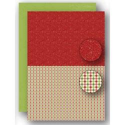 Papír na pozadí A4 - vánoční s puntíky v červené