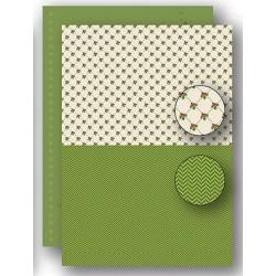 Papír na pozadí A4 - vánoční s cesmínou v zelené