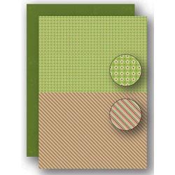 Papír na pozadí A4 - vánoční s proužky v zelené