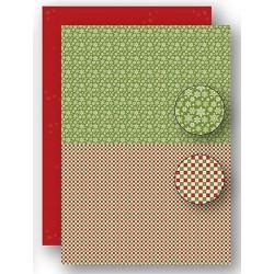 Papír na pozadí A4 - vánoční vločky v zelené