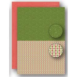 Papír na pozadí A4 - vánoční s puntíky v zelené