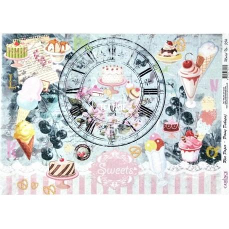 Rýžový papír A4 Sweets, hodiny