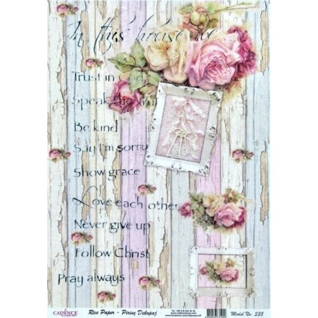 Rýžový papír A4 Oprýskané pruhy a růže, na výšku