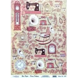 Rýžový papír A3 Vysoké hodiny, šicí stroje
