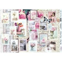 Rýžový papír A3 Známky s květinami