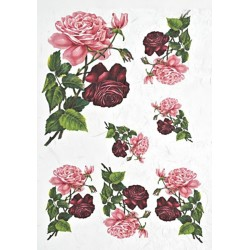 Papír rýžový A4 Červené a růžové růže