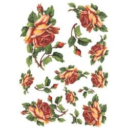 Papír rýžový A4 Růže oranžové s poupaty