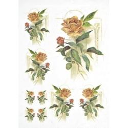 Papír rýžový A4 Růže, na pozadí rám