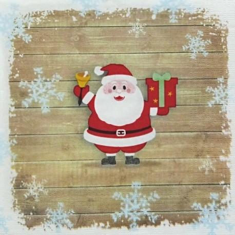 Santa na dřevěných prknech 33x33