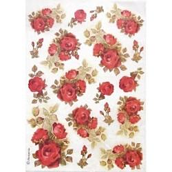 Papír rýžový A4 Růže červené
