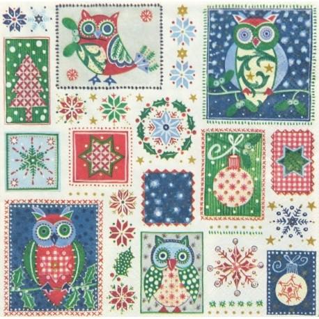 Owls Christmas 33x33