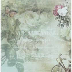 Růže, písmo, kolo - scrap.papír 31,5x32,5 200g