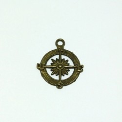 Kovový přívěsek - kompas, staromosaz