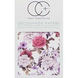 Květiny Vintage - set 3 papírů pro decoupage CC