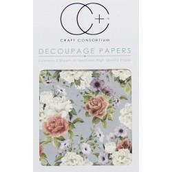 Svazek květů - set 3 papírů pro decoupage CC