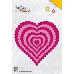 Vyřezávací šablony - srdce s vroubky Nellie´s Multi Frame´s