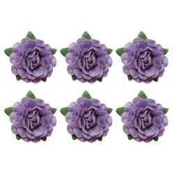 Set papírových růžiček 18mm, fialové, 6ks
