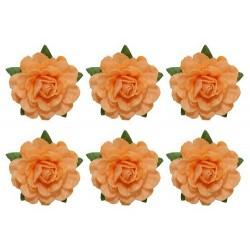 Set papírových růžiček 18mm, sv.oranžové, 6ks