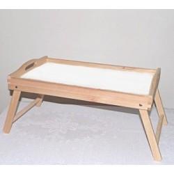Podnos dřevěný s nožičkami a bílým sololakem