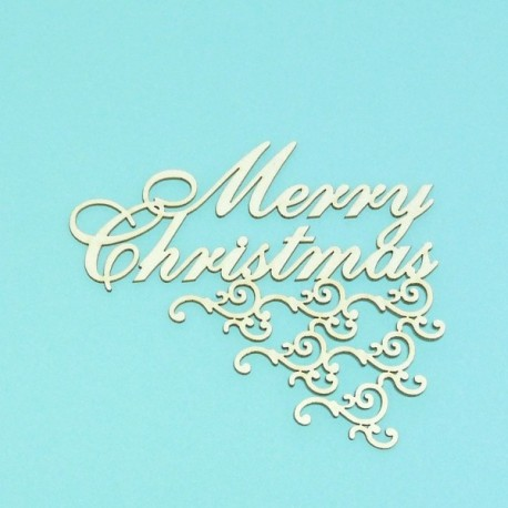 Merry Christmas s ornamentem - 1ks chipboards
