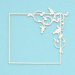 Čtvercový rámeček divoká růže - 1ks chipboards