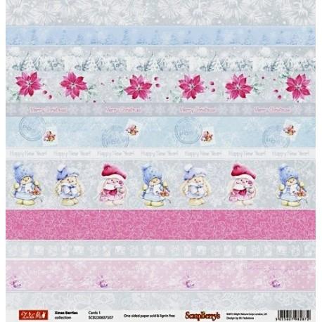 Xmas Berries, Cards 1, jednostranný 30,5x30,5cm