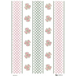 Papír rýžový A4 Růžové růžičky a pásky
