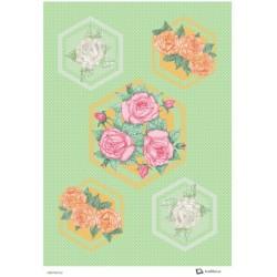 Papír rýžový A4 Růžičky v šestiúhelníku