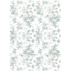 Papír rýžový A4 Celoplošný, modrošedé kytice
