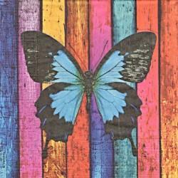 Motýl na barevném dřevě 33x33