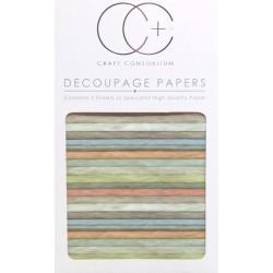 Dřevo, pastelové barvy - set 3 papírů pro decoupage CC