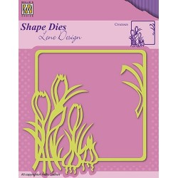 Vyřezávací šablona - rámeček s krokusy (Shape Dies)
