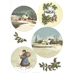 Scrap.papír A4 Zimní kulaté obrázky s chaloupkami