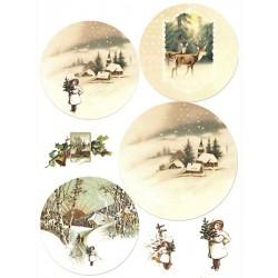 Scrap.papír A4 Zimní kulaté obrázky, dívka se stromkem
