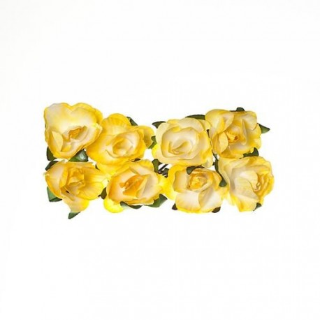Sada papírových kytiček 8ks - Rose Light Yellow