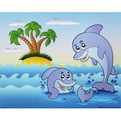 Reprodukce obrazu 24x30 - delfínci