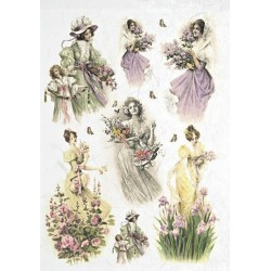 Papír rýžový A4 Ženy a květiny