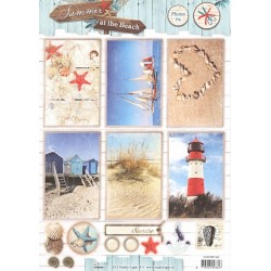 Papírové výseky A4 - Léto na pláži, maják (SL)