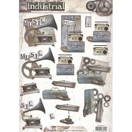 Papír 3D - Industrial, gramofon, vel.A4 (SL)