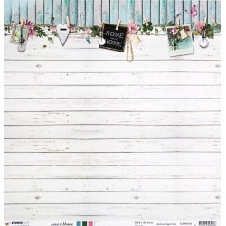 Love&Home, bílá prkna 30,5x30,5cm scrap.papír