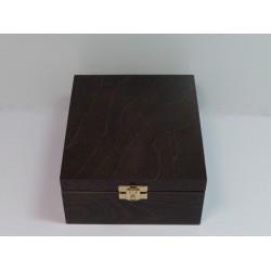 Krabička na čaj 4 komory, kování - tmavě hnědá