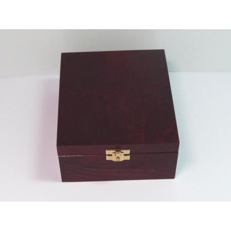 Krabička na čaj 4 komory, kování - mahagon
