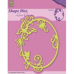 Vyřezávací šablona - ovál s motýlkem Shape Dies