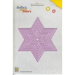 Vyřezávací šablona - hvězdy 9ks, Nellie´s Multi Frame´s