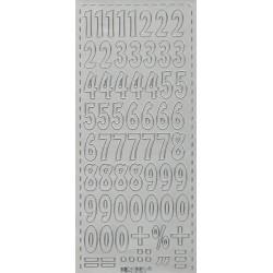 Samolepky číslice 2,1cm - stříbrné
