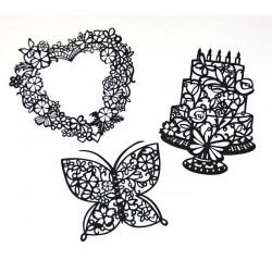 Set filigránových dekorací - srdce, dort, motýl