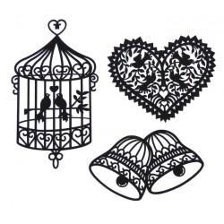Set filigránových dekorací - klícka, srdce, zvonky
