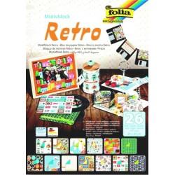 Blok vzorovaných papírů 26 listů - RETRO
