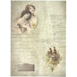 Papír rýžový A4 Dvě dívky, ptačí hnízdo, Antiquités